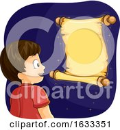 Kid Boy Magical Scroll Illustration