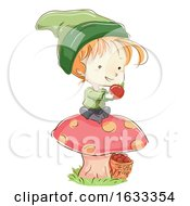 Kid Boy Gnome Tomato Harvest Illustration