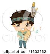 Poster, Art Print Of Kid Boy Indian Powwow Hand Drum Illustration
