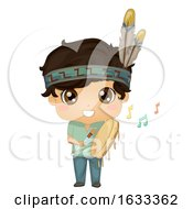 Kid Boy Indian Powwow Hand Drum Illustration