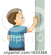 Poster, Art Print Of Kid Boy Turn Off Switch Illustration