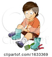 Kid Boy Wear Gardening Attire Illustration