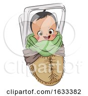 Poster, Art Print Of Kid Boy Baby Native American Papoose Illustration