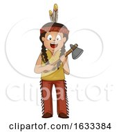 Kid Boy American Indian Stone Ax Illustration