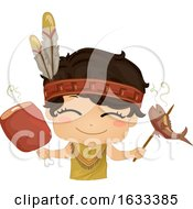 Kid Boy American Indian Fish Meat Illustration