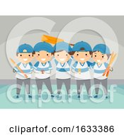 Stickman Kids Indoor Cricket Team Illustration
