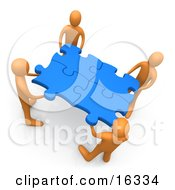 Team Of Four Orange People Holding Up Connected Pieces To A Gold Puzzle Symbolizing Excellent Teamwork Success And Link Exchanging Clipart Illustration Graphic by 3poD