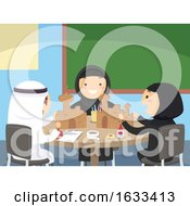 Stickman Kids Craft Cardboard Mosque Illustration