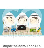 Kids Boys Muslim Team Robotics Illustration