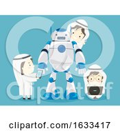 Kids Boys Muslim Robot Laptop Mobile Illustration