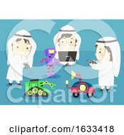 Kids Boys Muslim Play Robots Illustration