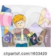 Kid Boy Parents Impulse Buying Illustration