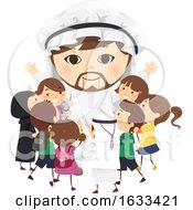 Stickman Kids Arab Mascot Hug Illustration