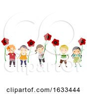 Poster, Art Print Of Stickman Kids Poppy Flowers Remembrance Day