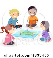 Stickman Kids Play Board Game Illustration