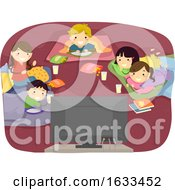 Stickman Kids Sleep Over Movie Night Illustration