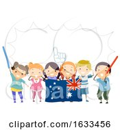 Poster, Art Print Of Stickman Kids Australian Cheer Speech Bubble