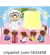 Stickman Kids Arab Mascot Speech Bubble Classroom