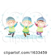 Kids Sweden Nature Snow Play Illustration