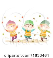 Kids Autumn Nature Leaves Play Illustration