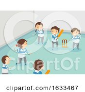 Stickman Kids Play Indoor Cricket Illustration