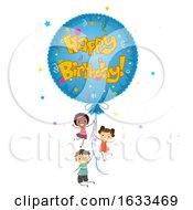 Poster, Art Print Of Stickman Kids Mylar Balloon Happy Birthday