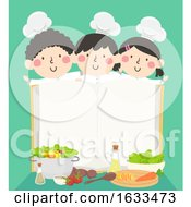 Kids Chefs Open Cook Book Recipes Illustration