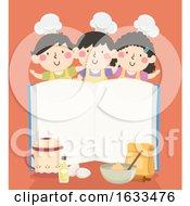 Kids Pastry Chefs Baking Open Book Illustration