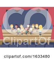 Kids Orchestra String Ensemble Rehearsal Stage Illustration