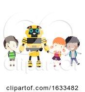Poster, Art Print Of Kids School Bus Robot Illustration
