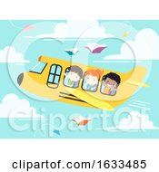 Kids Student School Plane Illustration
