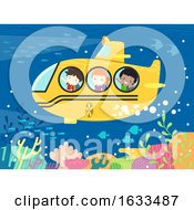Kids Student School Submarine Illustration
