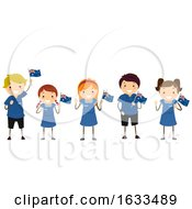 Poster, Art Print Of Stickman Kids Australian Students Uniform Flag