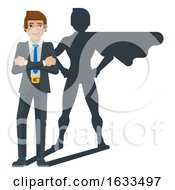 Superhero Businessman Shadow Cartoon Mascot