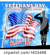 Poster, Art Print Of Soldier Saluting American Flag Veterans Day Design