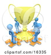 Group Of Blue People Standing On Orange Puzzle Pieces And Looking Up At A Giant Golden Tropy Cup After Winning A Championship Clipart Illustration Graphic
