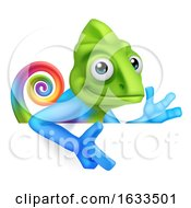 Chameleon Cartoon Peeking Over Sign Pointing