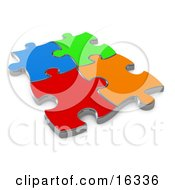 Four Different Colored Puzzle Pieces Connected Over A White Background Symbolizing Interlinking For Seo Website Marketing Teamwork And Diversity Clipart Illustration Graphic