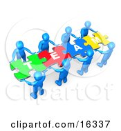 Team Of 8 Blue People Holding Up Connected Pieces To A Colorful Puzzle That Spells Out Team Symbolizing Excellent Teamwork Success And Link Exchanging
