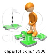 Orange Person Standing On A Green Puzzle Piece Teeing Off And Aiming For A Hole On Another Piece Symbolizing Goals