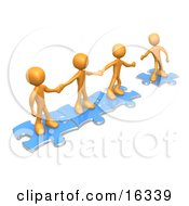 Team Of Three Orange People Holding Hands And Standing On Blue Puzzle Pieces With One Man Reaching Out To Connect Another To Their Group Clipart Illustration Graphic