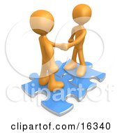 Two Orange People Shaking Hands While Standing On Connected Blue Puzzle Pieces Symbolizing Teamwork Deals And Link Exchanges For Seo Website Marketing