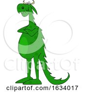 03/16/2019 - Cartoon Green Dragon With Folded Arms