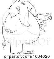 Cartoon Black And White Elephant Holding A Margarita