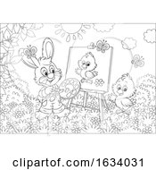 Black And White Bunny Rabbit Painting A Chick On A Canvas