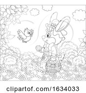 Black And White Female Bunny Rabbit With A Basket Of Easter Eggs And A Bird