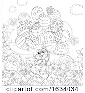 Poster, Art Print Of Black And White Bunny Rabbit With Easter Egg Balloons