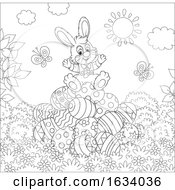 Poster, Art Print Of Black And White Bunny Rabbit On A Pile Of Easter Eggs