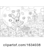 Poster, Art Print Of Black And White Bunny Rabbit Juggling Easter Eggs