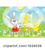 Poster, Art Print Of Bunny Rabbit Painting A Chick On A Canvas